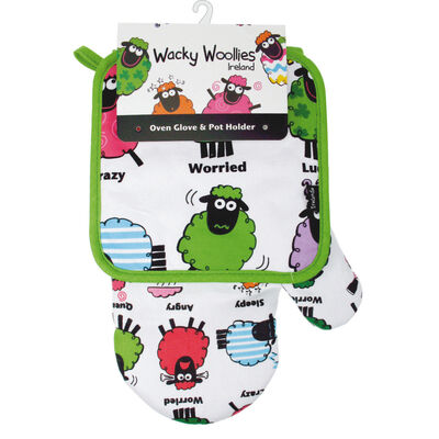 Wacky Woollies Pot Holder And Oven Glove Set