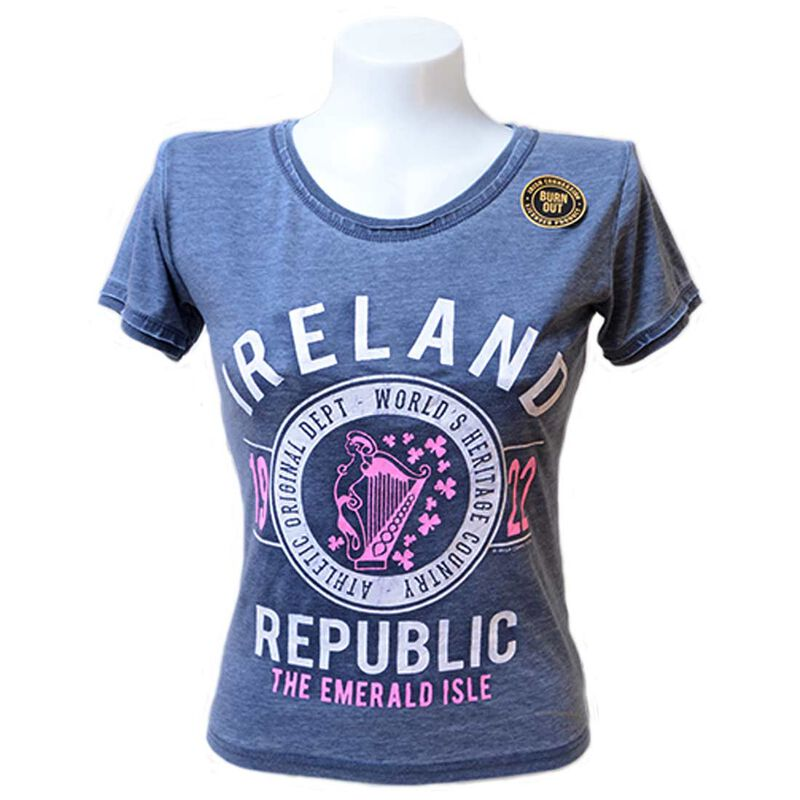 Navy Ladies Ireland Republic 1922 T-Shirt With A Pink Harp Design