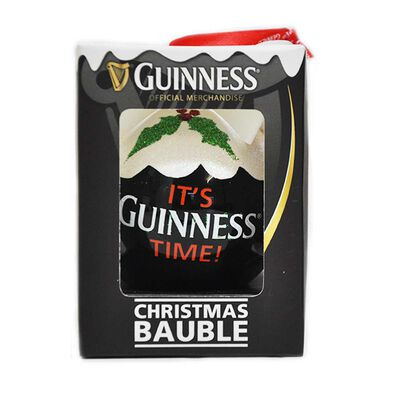 Guinness Bauble - Plastic With A Snow White Top With Its Guinness Time Text