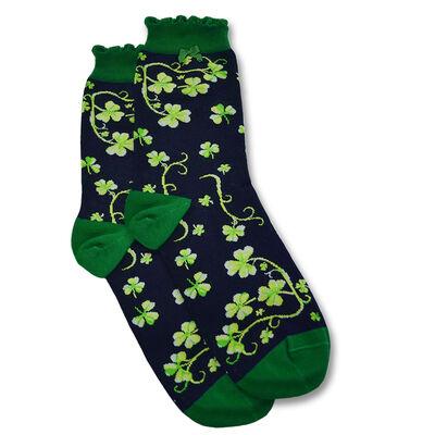 Patrick Francis Ireland Shamrock Designed Ladies Socks  Navy Colour