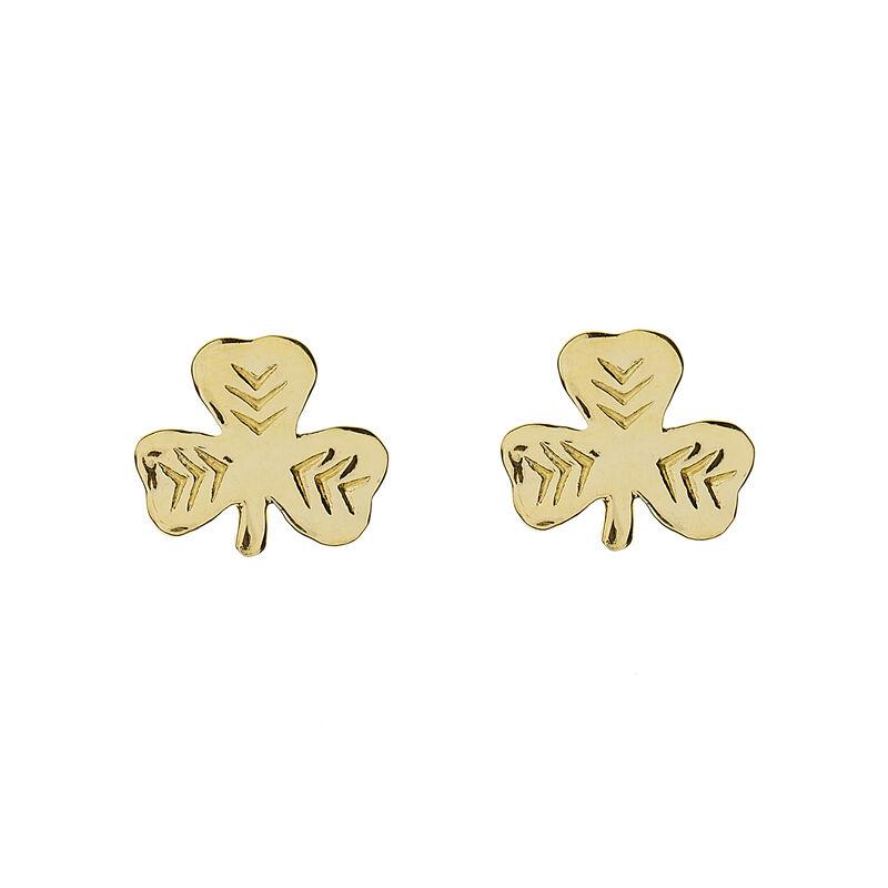 10Ct Gold Solid Celtic Shamrock Earrings