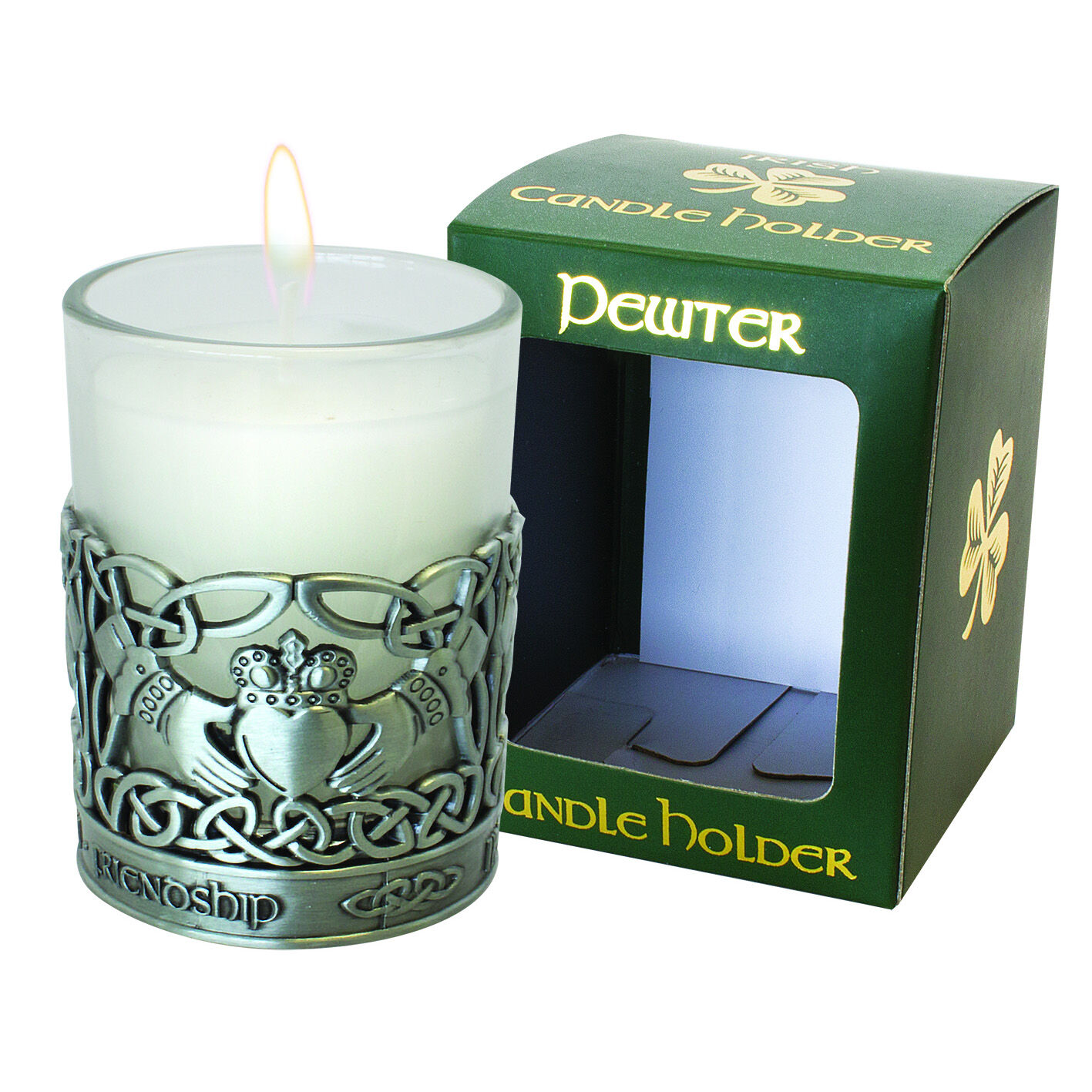 Buy Pewter Claddagh Designed Candle Holder With Vanilla Scented Candle Carrolls Irish Gifts
