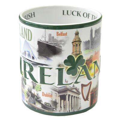 Famous Landmarks Of Ireland XXL Mug With Shamrocks And Green Text