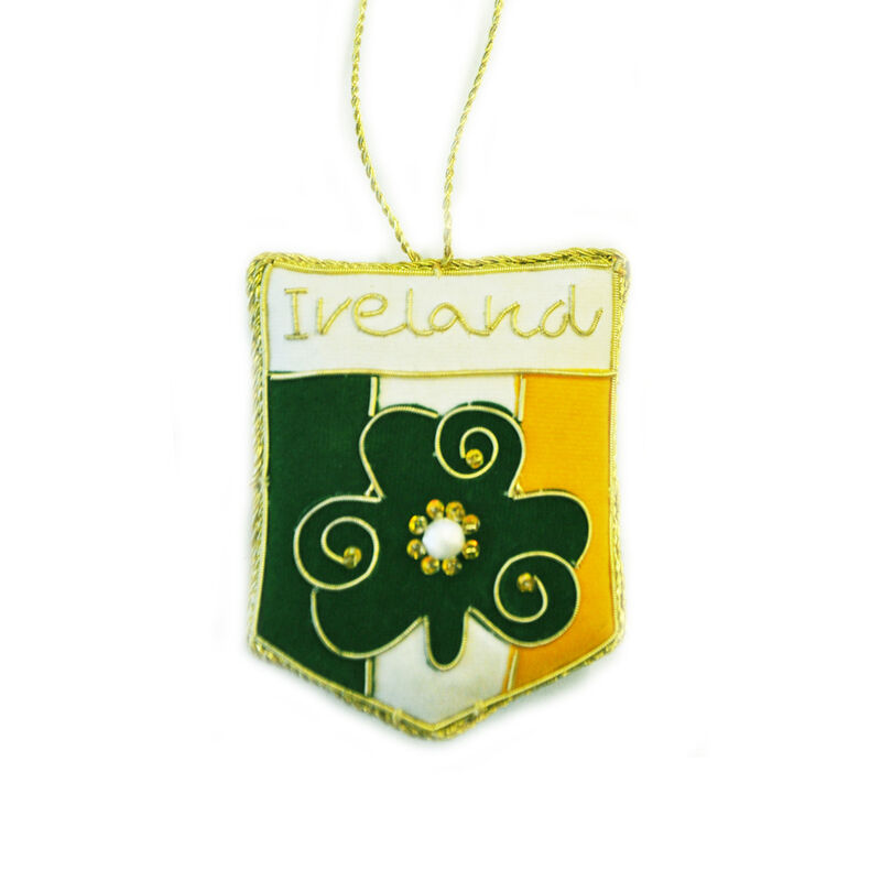 Irish Tri Colour Crest Shaped Christmas Decoration With Gold Celtic Needlework