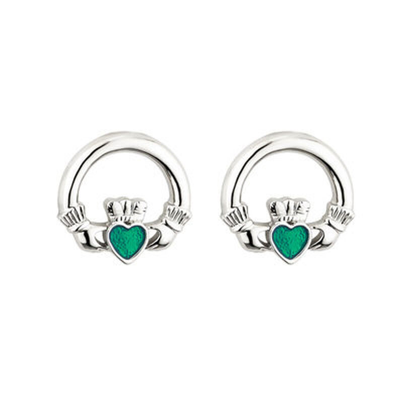 Rhodium Plated Claddagh Earrings With Emerald Cubic Zirconia Stone
