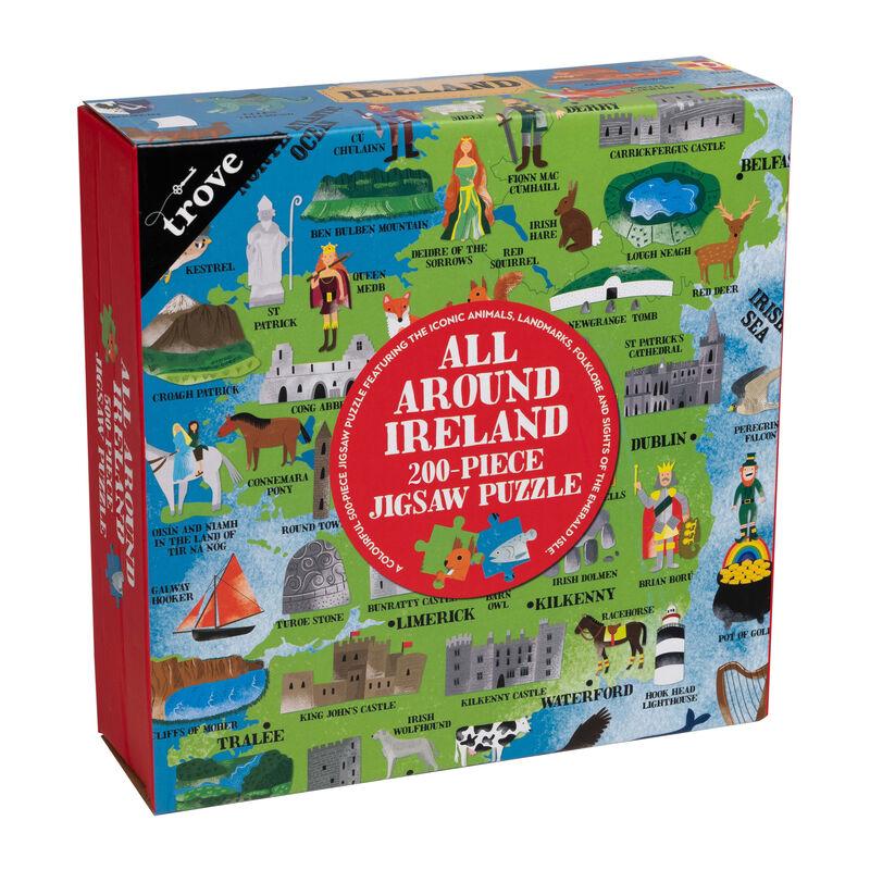 All Around Ireland 200-Piece Jigsaw Puzzle With Irish Map Poster