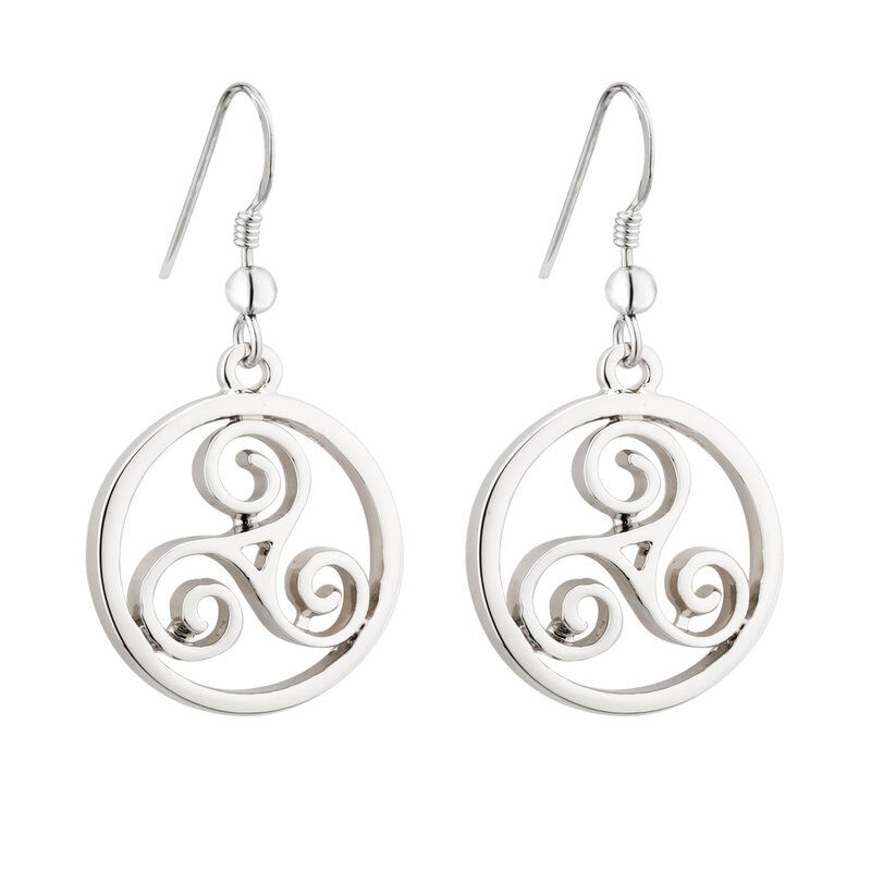 Rhodium Celtic Spiral Drop Earrings