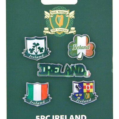 Irish Clutch Lapel Pin Set With A Variety Of Ireland Designs  5 Pieces