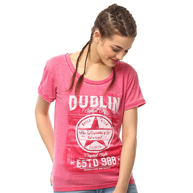 Pink Dublin Capital City Ladies T-Shirt With Star Design and EST 988 Text