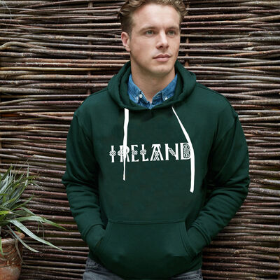 Ireland Hoodie With Celtic Design And Irish Blessing, Bottle Green Colour