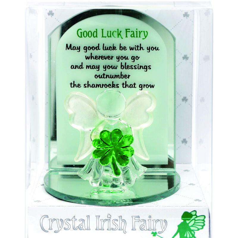 Crystal Good Luck Fairy Designed With Holding A Small Green Shamrock