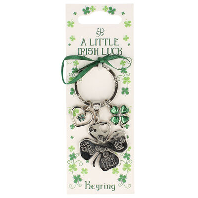 Silver Metal Keychain With 4 Leaf Clover Charm And 'Irish Luck' Text Design