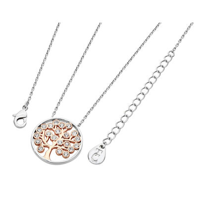 Tipperary Crystal Two Tone Silver Circle Tree of Life Designed Pendant