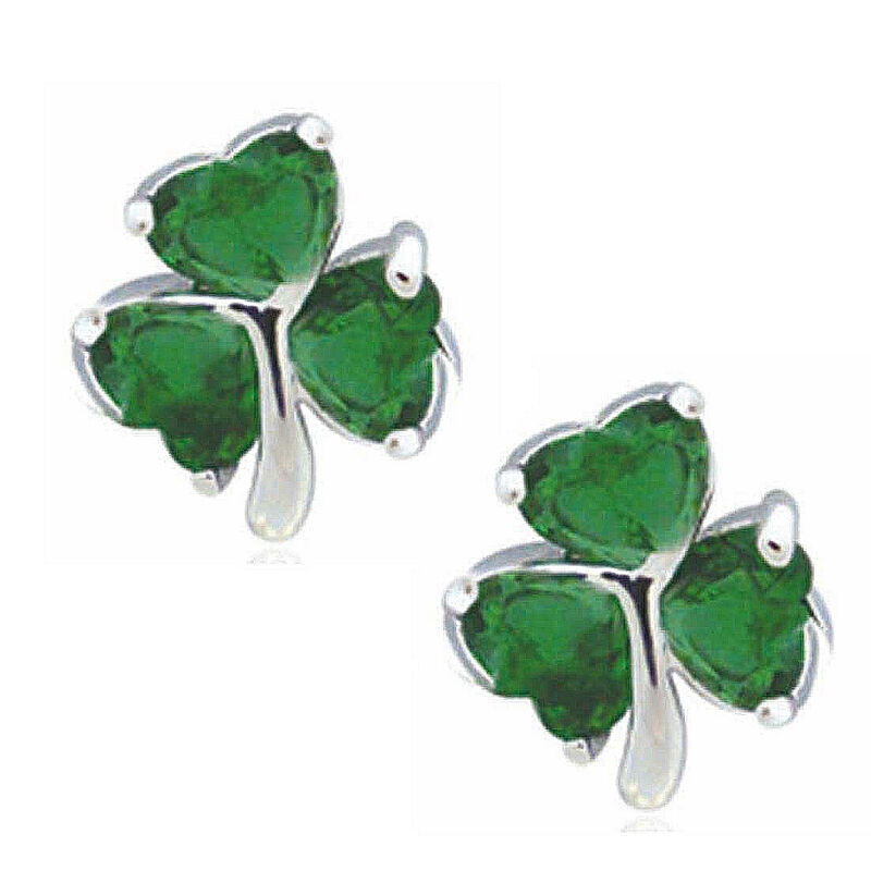 Silver Plated Shamrock Stud Earrings With 3 Emerald Cubic Zirconia Stones