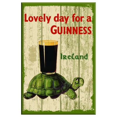 Nostalgic Guinness Wooden Sign with Tortoise & Pint & Lovely Day For a Guinness