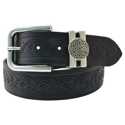 Lee River 40Mm Genuine Black Leather Belt With Celtic Loop Buckle