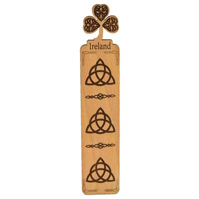 Wooden Irish Bookmark With Shamrock Design And Trinity Knot Pattern