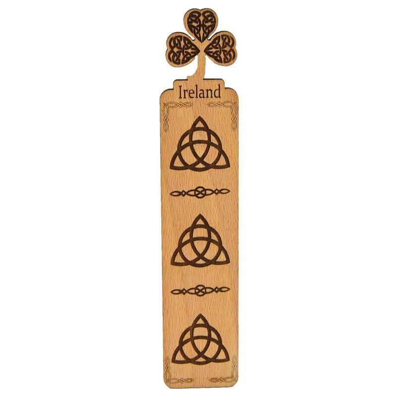 Wooden Irish Bookmark With Shamrock Design And Trinity Knot Pattern