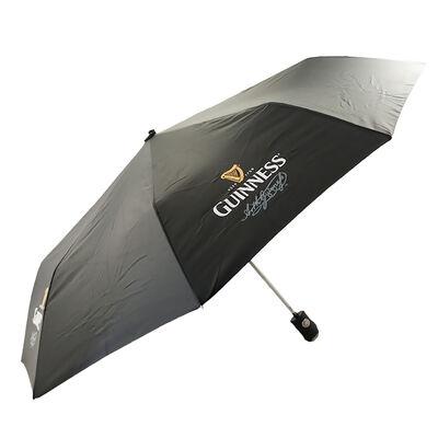 Schwarzer farbiger Schirm  versehen mit dem klassischen Guinness-Logo