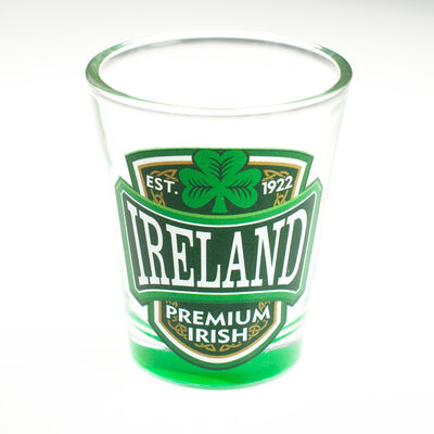 Loose Shot Glass With Ireland  Premium Irish And Green Shamrock Design