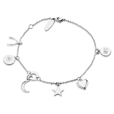 Silver Plated Amy Huberman Newbridge Silverware Bracelet Multi Charms Design