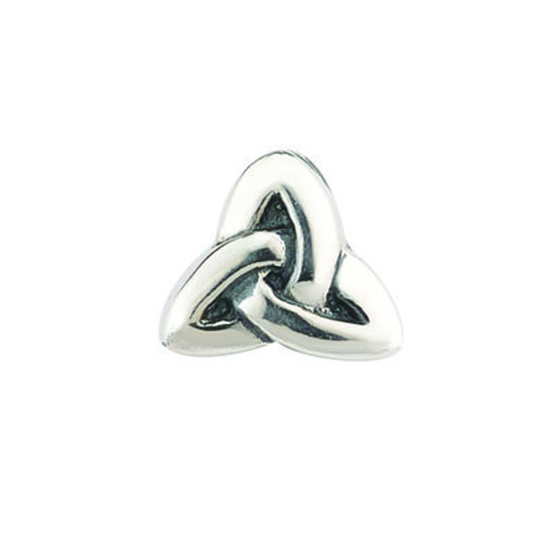 Hallmarked Sterling Silver Bead Charm In Trinity Knot Shape