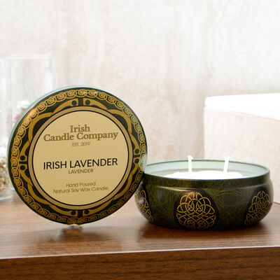 Large Lavender Natural Soy Wax Candle From Irish Candle Company