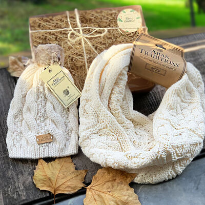 Aran Traditions Knitwear Snood & Hat Christmas Gift Set For Her
