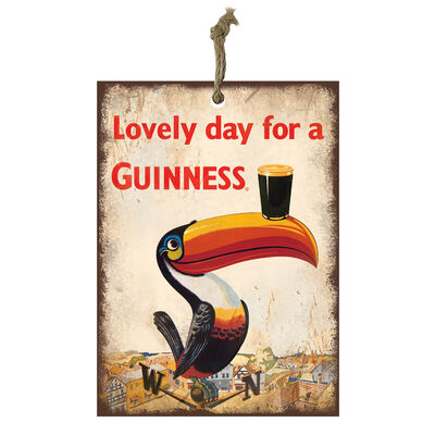 Official Guinness Mini Metal Bar Sign With Toucan And Pint Glass Design