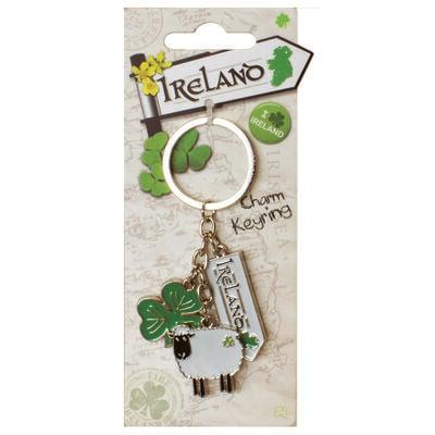 """""""Reiseziel Irland""""-Kollektion  Schlüsselanhänger mit Irland-Straßenschild und Kleeblatt"""