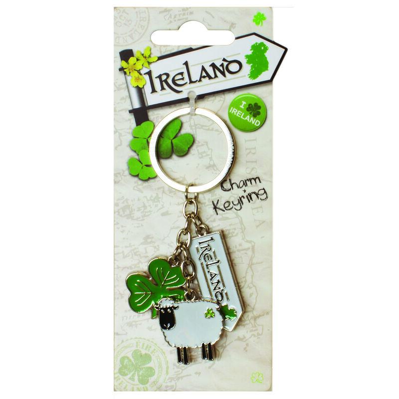 Destination Ireland Range Keychain Charm With Ireland Road Sign And Shamrock