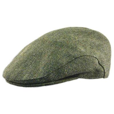 Doogan Donegal Tweed Herringbone Flat Cap  Green Colour