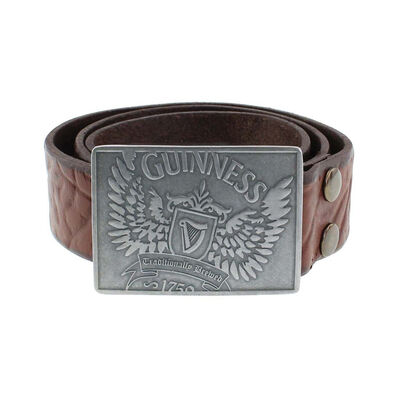 Guinness Quality Leather Belt With Guinness Wings Design, Brown Colour