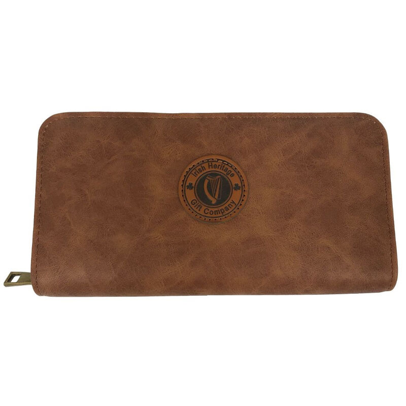 Irish Heritage Gift Company Purse In Brown With Harp Seal Design