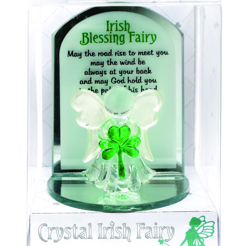 Crystal Irish Blessing Fairy Designed With Holding A Small Green Shamrock