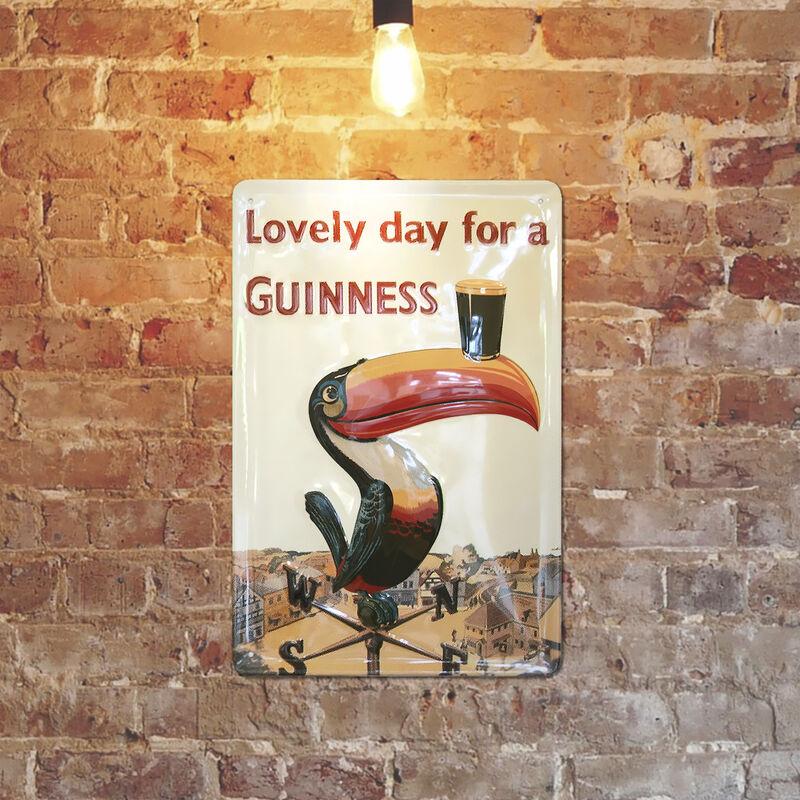 Guinness Blechschild mit kultigem Tukan auf Wetterfahne (20 x 30 cm)