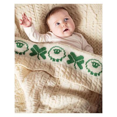 100% Soft Merino Wool Baby Blanket With Sheep And Shamrock Pattern