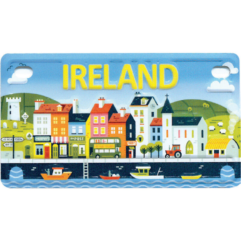 Reg Plate Magnet With Image Of A Colourful Irish Seaside Town With Ireland Text