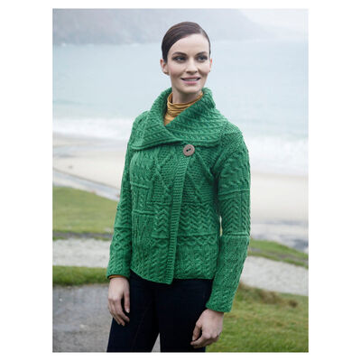 Patchwork 1 Button Cardigan With Collar Kiwi