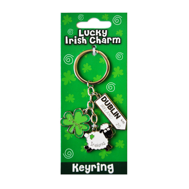 Irish Sheep Style Charm Keychain With Dublin Road Sign