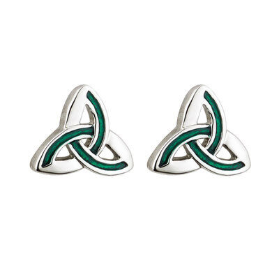Rhodium Plated Trinity Knot Stud Earrings With Green Enamel Panels