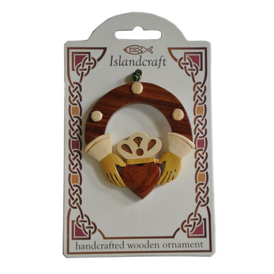 Irish Wooden Claddagh Hanging Decoration