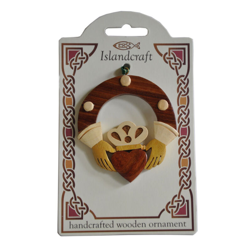 Irish Wooden Claddagh Hanging Decoration