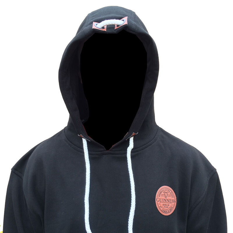 Guinness Unisex Pullover Hoodie With PU Leather Badge, Black Colour