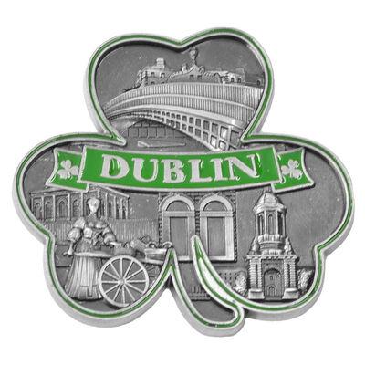Famous Dublin Landmarks Metal MDF Magnet With Shamrock Design