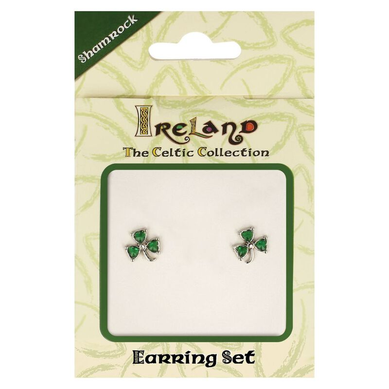 The Celtic Collection Ireland Earrings With Green Shamrock Design