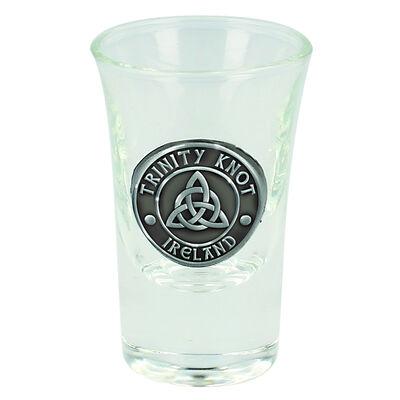Boxed Irish Shot Glass With Celtic Pewter Trinity Knot Ireland Badge