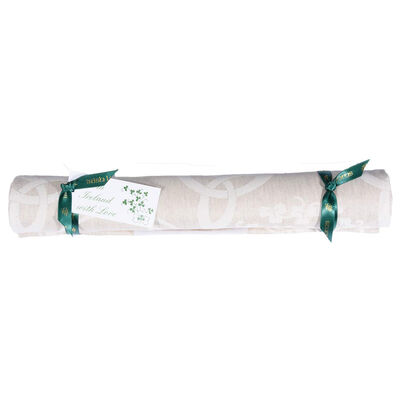 Irish Linen Natural Celtic Damask Table Runner – Presented in a box