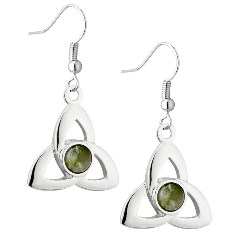 Rhodium Plated Round Connemara Marble Trinity Knot Drop Earrings