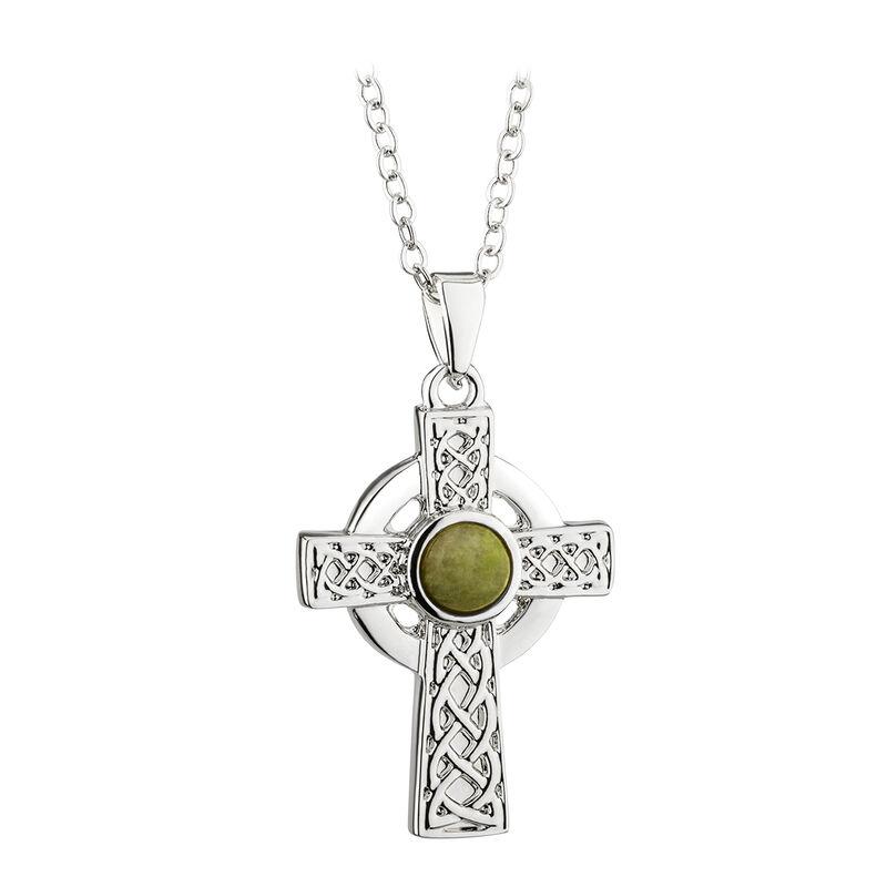 Rhodium Plated Celtic Cross Pendant With Green Connemara Marble Stone